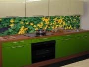 Стеклянный фартук на кухню в зеленой гамме